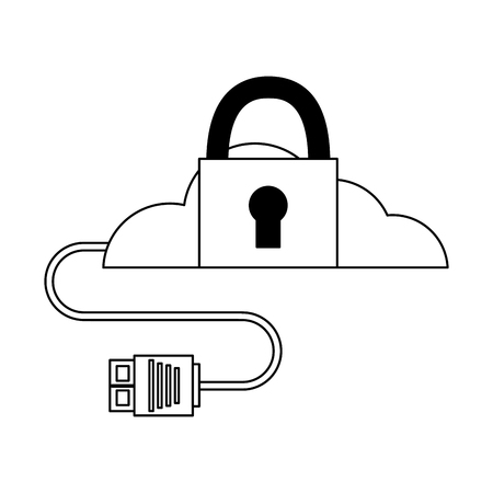 cloud computing security data cable vector illustration