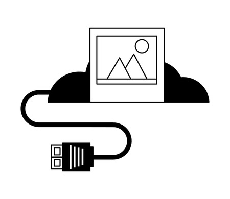 cloud computing photo data connector vector illustration