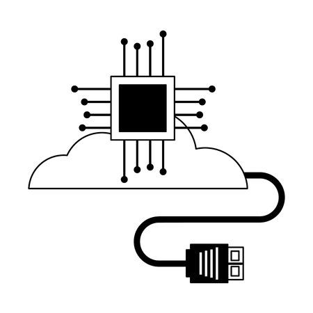 cloud computing motherboard circuit connector vector illustration Banco de Imagens - 125820778