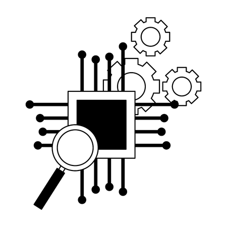 motherboard circuit magnifying glass gears vector illustration