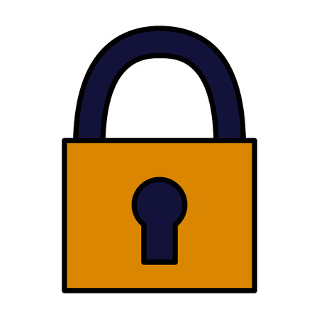 close padlock security on white background vector illustration