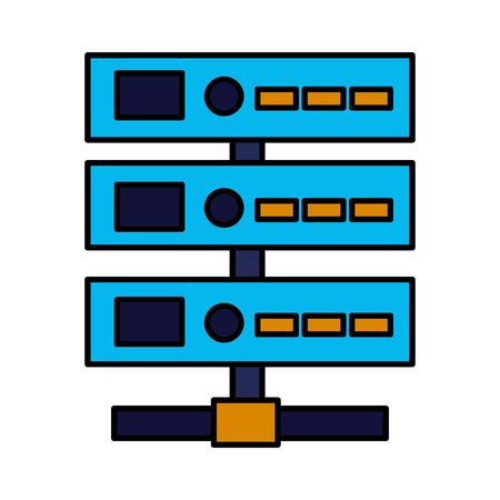 database center server on white background vector illustration Çizim
