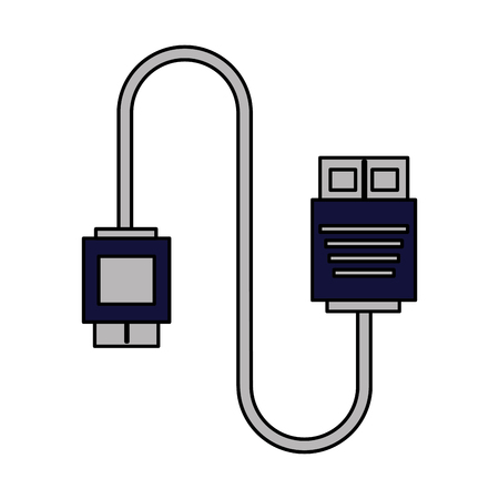 cable connector for computer on white background vector illustration