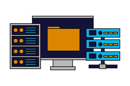 computer folder database server cpu vector illustration Illustration