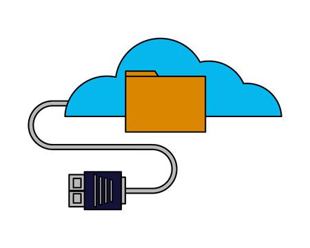 cloud computing folder data cable plug vector illustration