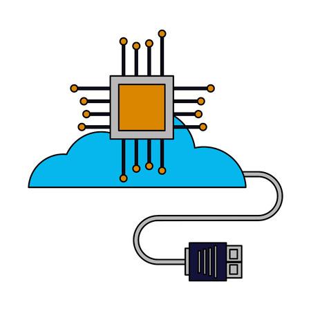 Ilustración de vector de conector de circuito de placa base de computación en la nube