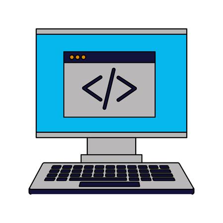 computer monitor keyboard coding website vector illustration