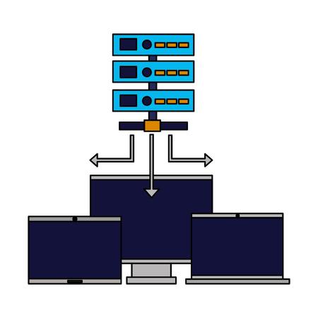 database server computer monitor laptop vector illustration