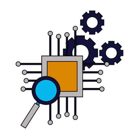 motherboard circuit magnifying glass gears vector illustration Stock Vector - 125820826