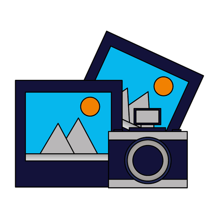 photography camera device pictures media vector illustration  イラスト・ベクター素材