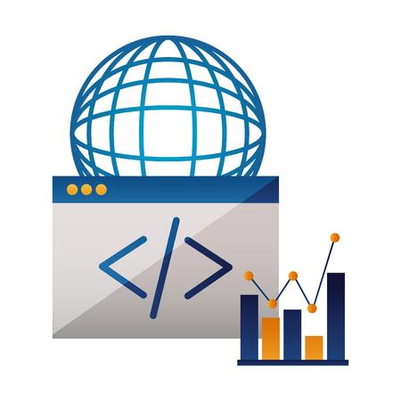 world code chart website technology vector illustration