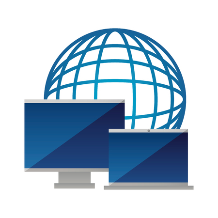 world computer monitor and laptop vector illustration 向量圖像