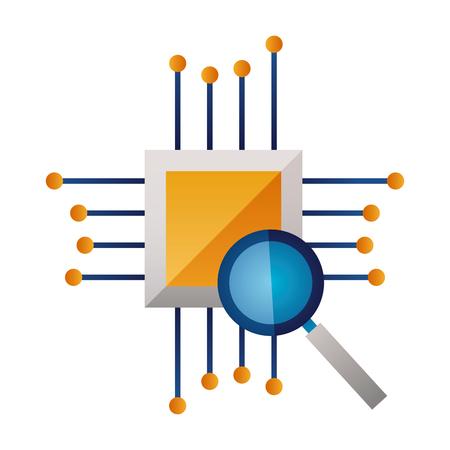 Circuit de la carte mère matériel de loupe illustration vectorielle