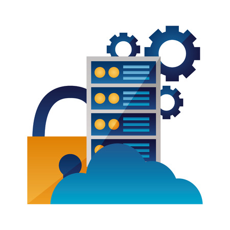 cloud computing cpu security settings vector illustration Illustration