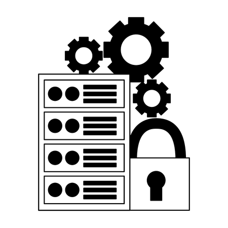 computer case padlock security settings vector illustration