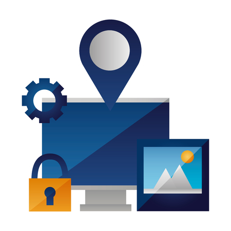 computer photo navigation pointer security vector illustration