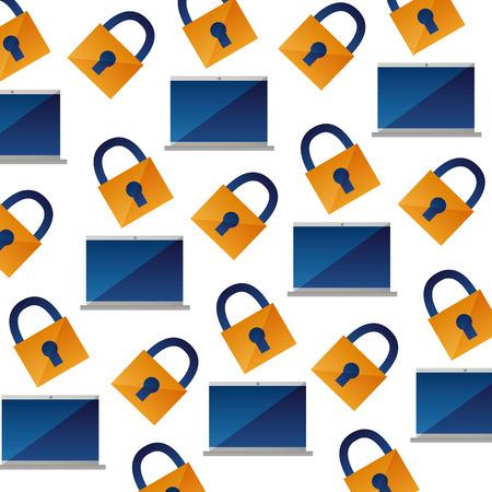 background laptop computer security pattern vector illustration Illustration