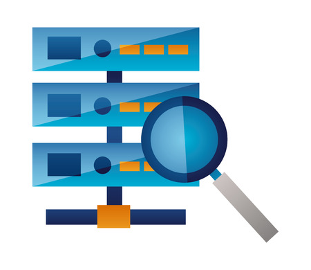 database server magnifyig glass searching vector illustration