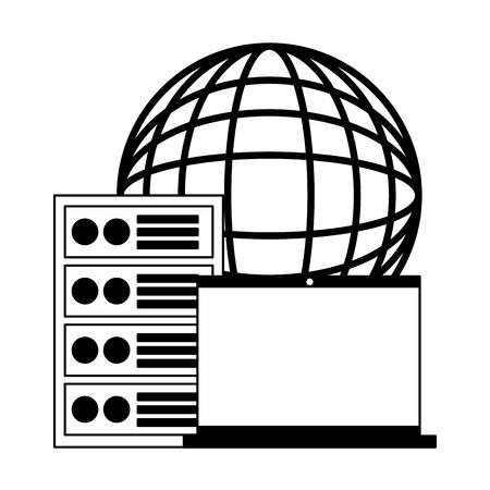 laptop computer case world digital vector illustration