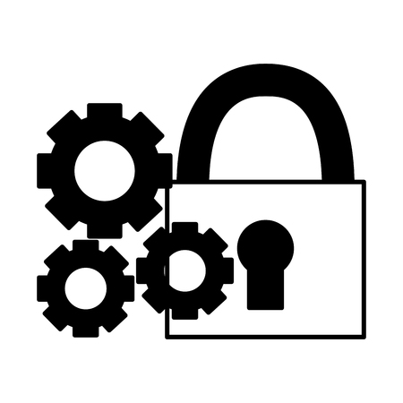 padlock security settings on white background vector illustration