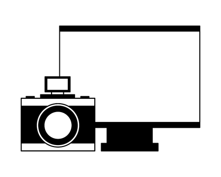 computer monitor photography camera devices vector illustration Illustration