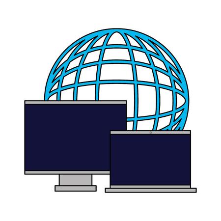 world computer monitor and laptop vector illustration Çizim