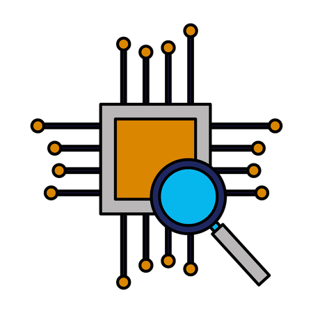 motherboard circuit magnifying glass hardware vector illustration