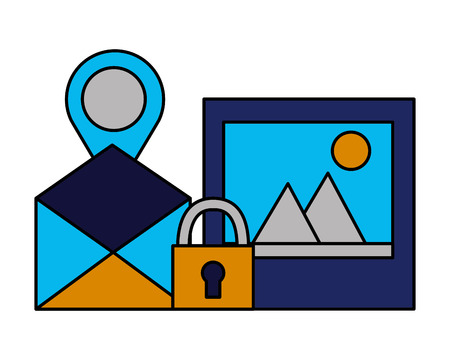 email picture navigation pin security vector illustration Illustration