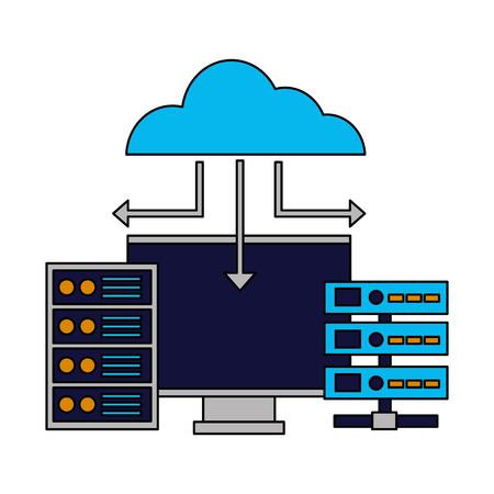 cloud computing monitor case database vector illustration Çizim