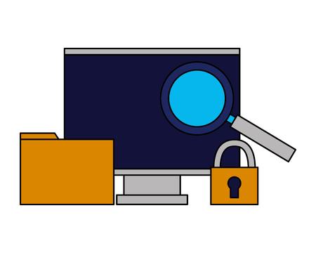 computer monitor folder security analysis vector illustration Illustration