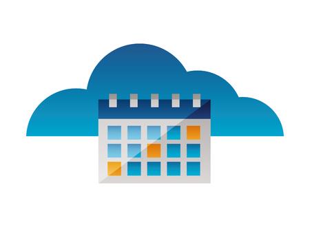 cloud computing calendar reminder plan vector illustration