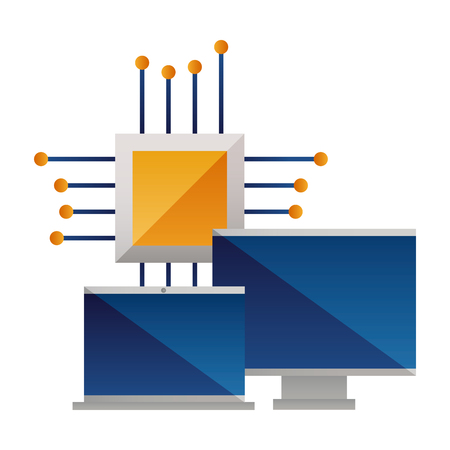 computer monitor laptop and motherboard circuit vector illustration