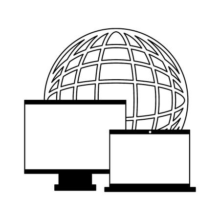 world computer monitor and laptop vector illustration Illustration