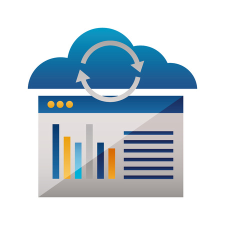 cloud computing reload website report vector illustration