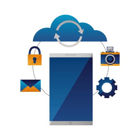 cloud computing smartphone reload connection vector illustration Illustration
