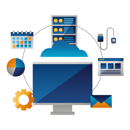 cloud computing monitor cpu connection vector illustration