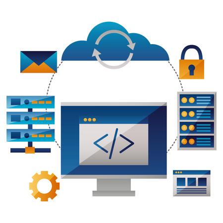 cloud computing coding computer databse vector illustration Illustration