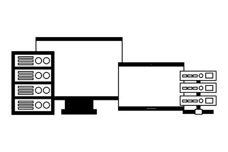 computer monitor laptop database server vector illustration Stock Vector - 125820965