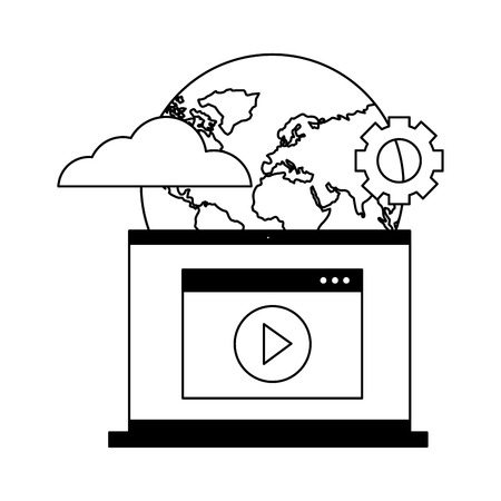 laptop video world setting cloud computing vector illustration