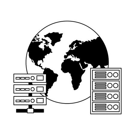 world database server center computer case vector illustration Stock Vector - 125820969