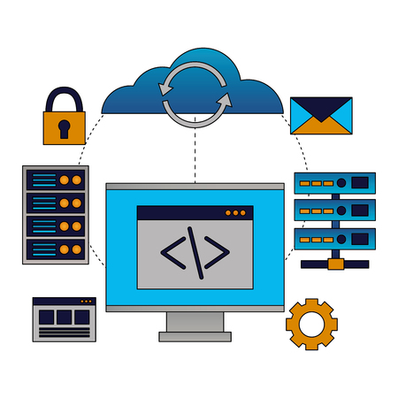 cloud computing coding computer databse vector illustration Иллюстрация