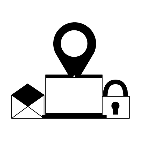 laptop computer navigation pointer email security vector illustration