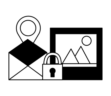 email picture navigation pin security vector illustration Stock Vector - 125820984