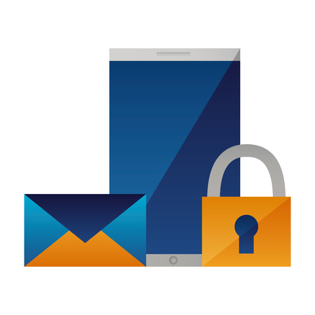 smartphone email data security protection vector illustration