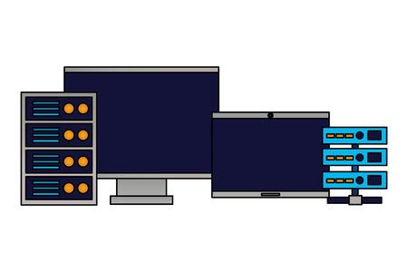 computer monitor laptop database server vector illustration