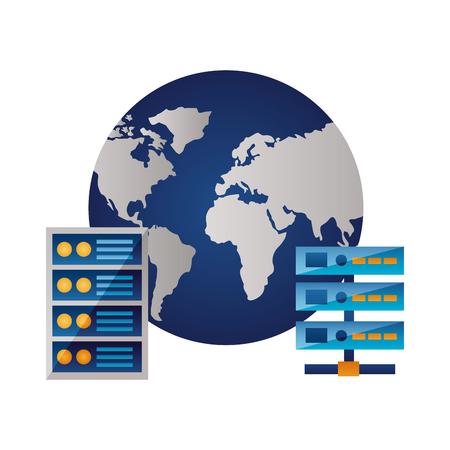 world database server center computer case vector illustration  イラスト・ベクター素材