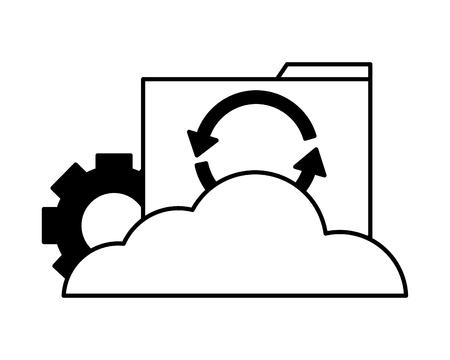 cloud computing folder file reload setting vector illustration