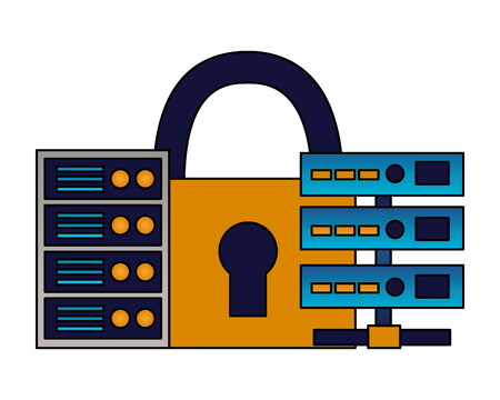database server center storage security vector illustration Illustration