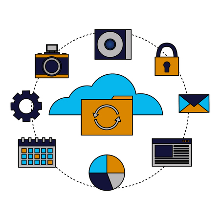 cloud computing folder reload items vector illustration