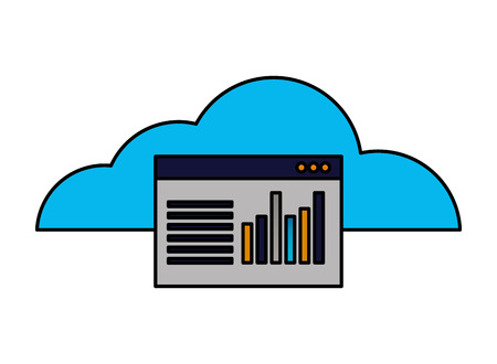 cloud computing website report chart vector illustration